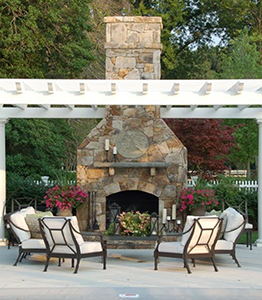 Outdoor Fireplace And Pergola In The Bay Area Of California