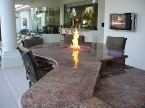 Fire table as part of a Bay Area outdoor kitchen counter
