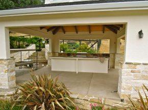 Large outdoor kitchen beneath a sturdy roof in the Bay Area