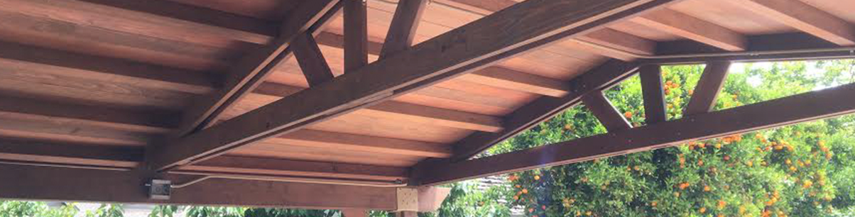Solid-roof pergola for a backyard near San Jose