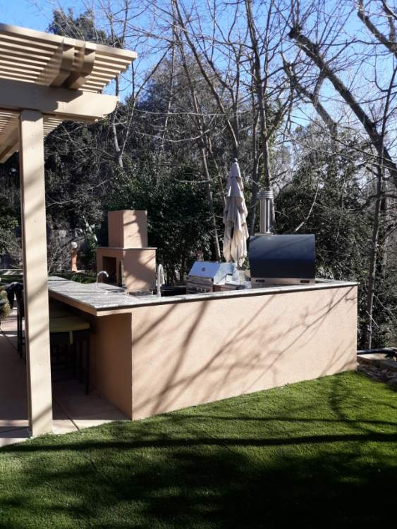 Outdoor Kitchen Fireplace Smoker In Pleasanton